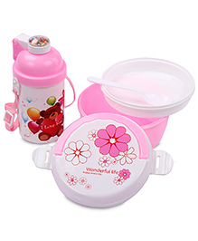 Lunch Box Water Bottle And Spoon Set Teddy Bear Print - Pink