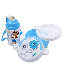 Lunch Box Water Bottle And Spoon Set Smile Print - Blue