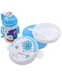 Lunch Box Water Bottle And Spoon Set Galaxy Print - Blue