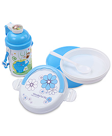 Lunch Box Water Bottle And Spoon Set Elephant Print - Blue