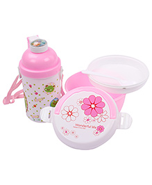Lunch Box Water Bottle And Spoon Set Frog Print - Pink
