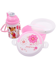 Lunch Box Water Bottle And Spoon Set Smile Print - Pink