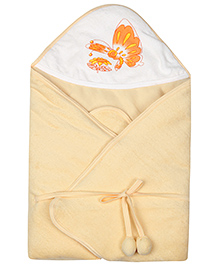 Tinycare Hooded Towel Butterfly Print - Orange