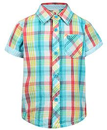 Beebay Half Sleeves Shirt Checks Print - Blue And Pink