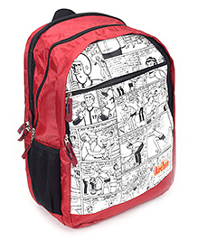 Archie School Bag 17 Inches - Red And White