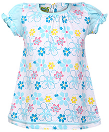 Babyhug Puff Sleeves Frock All Over Print - White And Blue