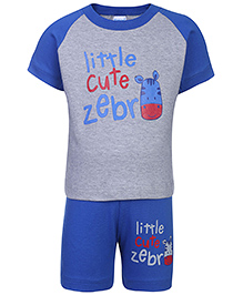 Tango T-Shirt And Shorts Set Little Cute Zebra Print - Blue And Grey