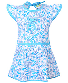 Babyhug Cap Sleeves Frock All Over Print - White And Sky Blue