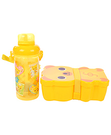 Lunch Box Water Bottle And Spoon Set - Yellow
