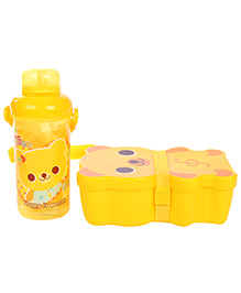 Lunch Box Water Bottle And Spoon Set Happy Print - Yellow