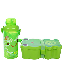 Lunch Box Water Bottle And Spoon Set Happy Print - Green