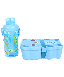 Lunch Box Water Bottle And Spoon Set Panda Print - Blue