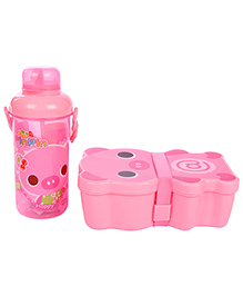 Lunch Box Water Bottle And Spoon Set Panda Print - Pink