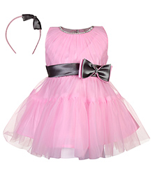 Babyhug Sleeveless Party Frock With Hair Band Bow Applique - Pink