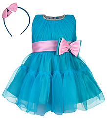 Babyhug Sleeveless Party Frock With Hair Band Bow Applique - Turquoise Blue