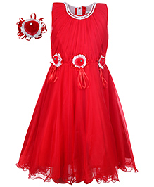 Babyhug Sleeveless Party Frock With Hand Corsages Floral Applique - Red