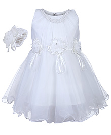 Babyhug Sleeveless Party Frock With Hand Corsages Floral Applique - White