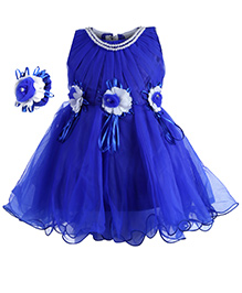 Babyhug Sleeveless Party Frock With Fabric Bracelet Floral Applique - Royal Blue