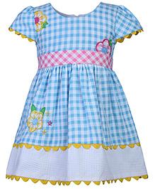 Babyhug Cap Sleeves Frock Checks Pattern - Blue