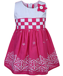 Babyhug Sleeveless Frock Floral Applique - White And Pink