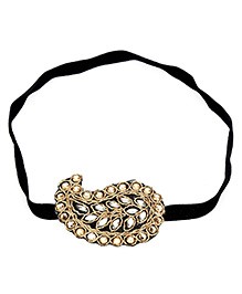 Dchica Ultra Glam Kundan Headband - Black