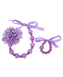Dchica Soft Net Flower And Little Hearts Necklace And Bracelet Set - Purple
