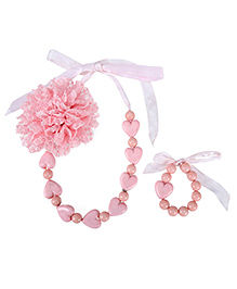 Dchica Soft Net Flower And Little Hearts Necklace And Bracelet Set - Pink