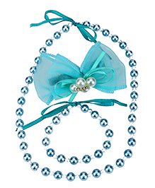 Dchica Necklace Bracelet and Net and Pearl Bow Clip Set - Sea Green