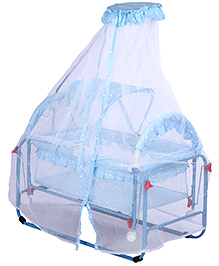 Baby Cradle Hearts Print Double Mosquito Net - Blue