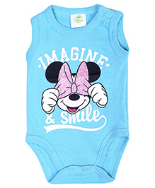 Disney Baby Sleeveless Onesies Imagine And Smile Print - Turquoise Blue