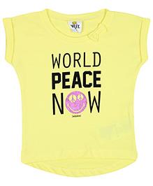 Fox Half Sleeves Top World Peace Now Print - Yellow