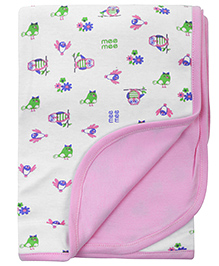 Mee Mee Baby Wrapper Floral And Owl Print - Light Pink And White