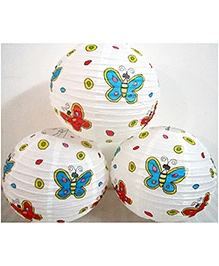 Wanna Party Butterfly Print Round Lantern Pack of 3 - 12 Inches