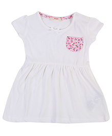 Fox Baby Short Sleeves Frock - Off White