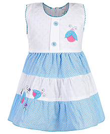 Babyhug Sleeveless Frock Bee Patch - White And Sky Blue