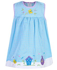 Babyhug Sleeveless Frock Checkered Print - Blue And White