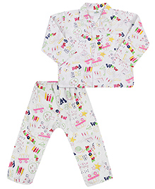 Babyhug Full Sleeves Night Suit Multi Print - White Base