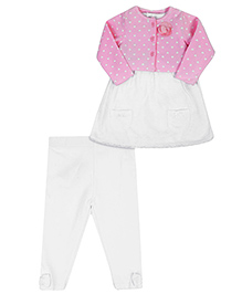 Fox Baby Short Sleeves Frock Style Onesies With Full Sleeves Shrug And Legging - Pink And White