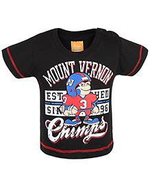 Little Kangaroos Half Sleeves T-Shirt Mount Vernon Print - Black