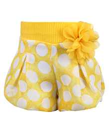 Little Kangaroo Polka Dots Printed Divider Shorts - Yellow