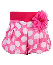 Little Kangaroo Polka Dots Printed Divider Shorts - Pink
