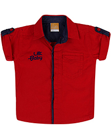 Little Kangaroos Half Sleeves Shirt Lilk Baby Emboss Print - Red