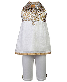 Little Kangaroos Frock With Leggings Floral Self Pattern - Off White
