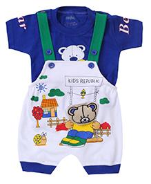 Babyhug Dungaree With Half Sleeves T-Shirt Bear Print - Blue And White