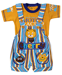 Babyhug Dungaree With Half Sleeves T-Shirt Animal Face Patch - Yellow