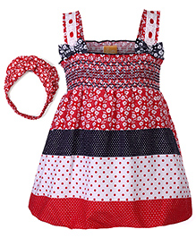Little Kangaroos Frock With Hairband Bow Appliques And Printed - Red