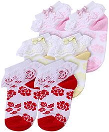 Cute Walk Socks Floral Print Pink Lemon And Red - Pack of 3