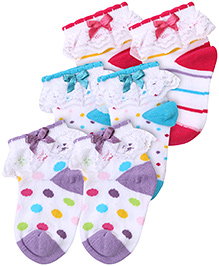 Cute Walk Socks Lavender Blue And Fuchsia - Pack of 3