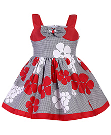 Babyhug Singlet Frock Floral Print And Bow Applique - Red And Light Grey