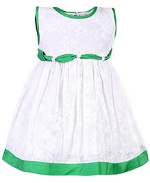 Babyhug Sleeveless Frock Printed Self Pattern - White And Green
